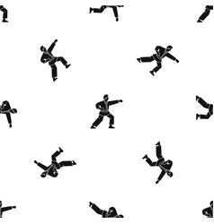 Aikido fighter pattern seamless black vector