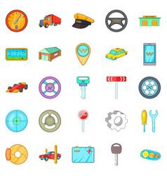 Auto icons set cartoon style vector