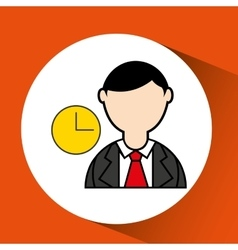 Avatar man with suit and time clock graphic vector