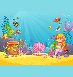 Background with an underwater world vector