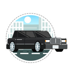 black luxury limo car icon vector image vector image