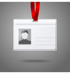 Blank horizontal badge holder with place for photo vector