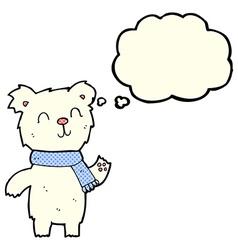 Cartoon cute polar bear cub with thought bubble vector