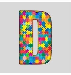 Color Puzzle Piece Jigsaw Letter - D vector image