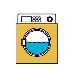 Color sections silhouette of wash machine vector