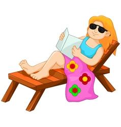 Cute woman cartoon sitting relaxed on the beach vector