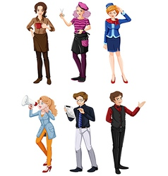 Different people in different fields vector image vector image