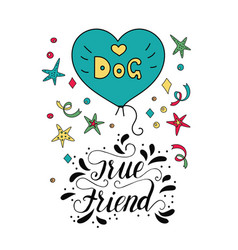dog card with handdrawn lettering message vector image