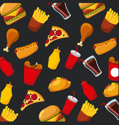 Fast food pizza hot dog soda sauce seamless vector