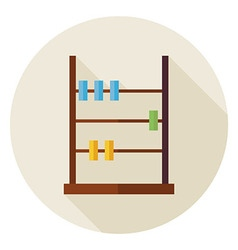 Flat math counter abacus circle icon with long vector