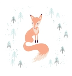 Fox in winter pine forest isolated on white vector