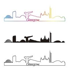 Glasgow skyline linear style with rainbow vector image