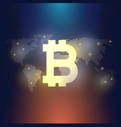 Global abstract bitcoin crypto currency technology vector