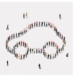 Group people shape car vector