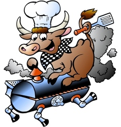 Hand-drawn of an Chef Cow riding a BBQ barrel vector image vector image