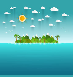 Idyllic paradise coast landscape with mountains vector