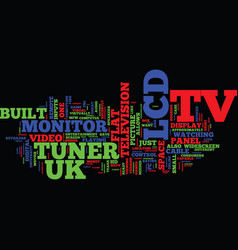 Lcd tv uk text background word cloud concept vector