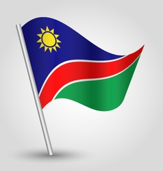 Namibian flag on pole vector