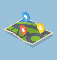 Pointers on map gps navigation concept icon vector