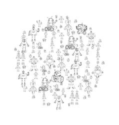 Robot doodles vector