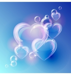 Romantic background with bubble hearts shapes on vector