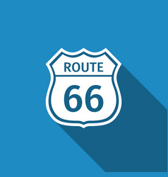 route sixty six road sign american road icon vector image