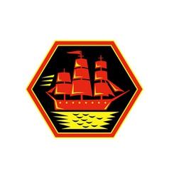 sailing ship or clipper icon vector image vector image