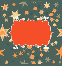 Scrapbooking template orange on green with place vector