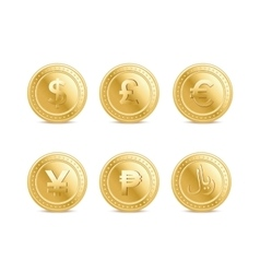 Set of the currency golden isolated finance coin vector