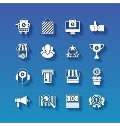 Shopping flat white icons set with long shadows vector image vector image