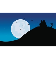 Silhouette of castle in hills Halloween vector image vector image