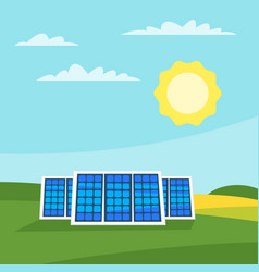 Solar panels in the meadow vector