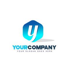 Y letter logo hexagon shape modern design vector