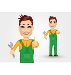Young plumber dressed in green work clothes vector