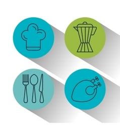 Kitchen utensils and food isolated icons vector