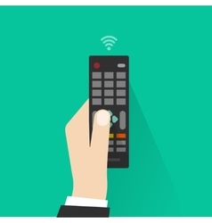 Hand holding remote control from tv vector
