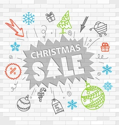 White brick wall and graffiti label christmas sale vector
