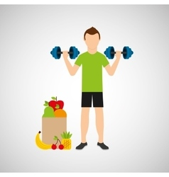 Man barbell lift exercising bag health food vector