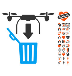 Drone drop trash icon with lovely bonus vector