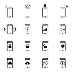Set of mobile network line icon vector