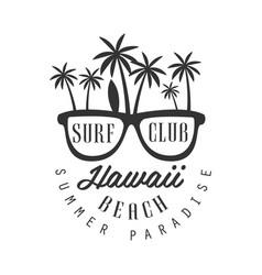 Hawaii beach summer paradise logo template black vector