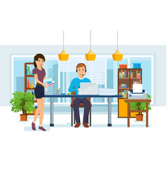 Office workers colleagues on background interior vector