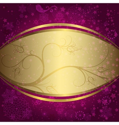 Christmas purple and golden frame vector image