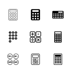 Black calculator icon set vector