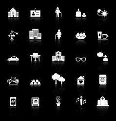 Retirement community icons with reflect on black vector