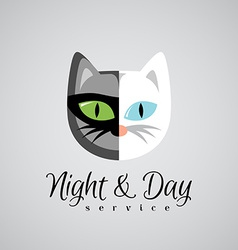 Cat face logo template dark gray and white color vector