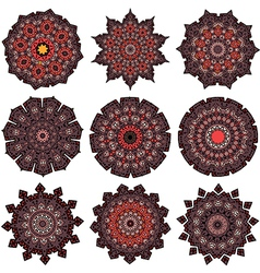 Set of orange-brown mandalas vector