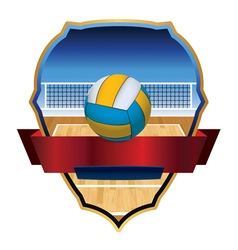 Volleyball badge emblem vector