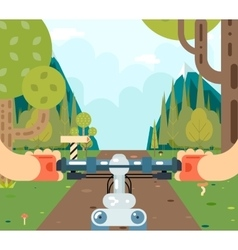 Bicycle steering wheel riding forest tourism and vector