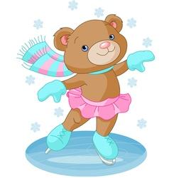 bear girl on ice skates vector image
